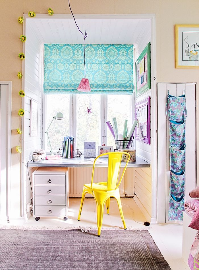 kids room // study.. love the yellow tolix and mint green jielde
