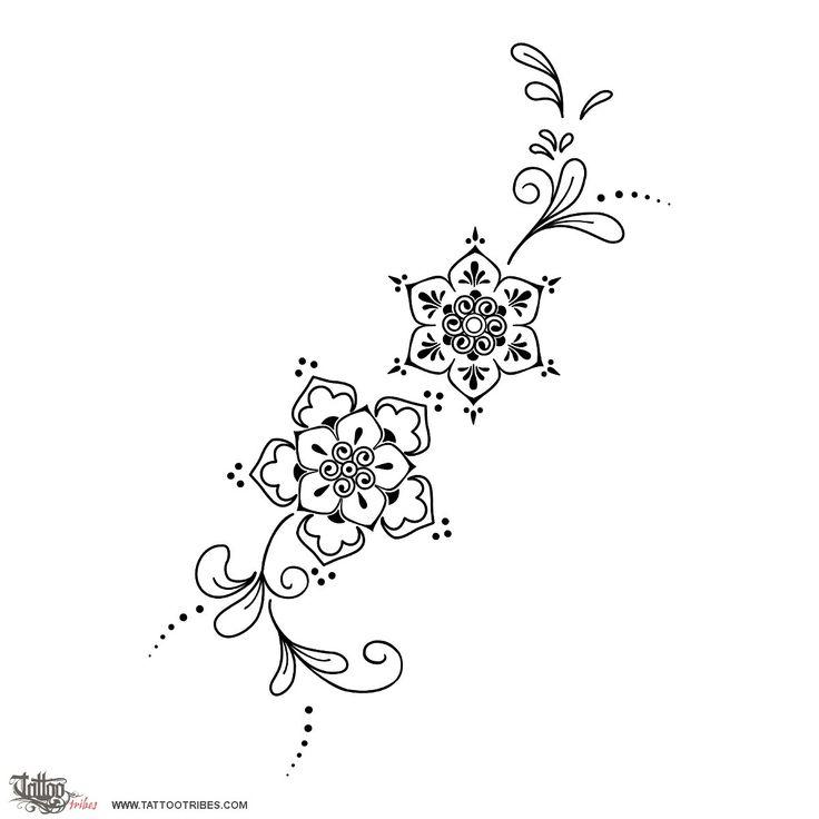 Tatuaggio di Fiori Mehndi, Fertilità, rinascita tattoo - custom tattoo designs on TattooTribes.com