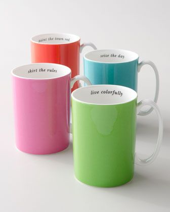 ''say the word'' mugs :: live colorfully | skirt the rules | seize the day | paint the town red $20