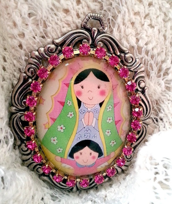Virgencita Plis Cuidame Cameo Glass Pendent by 2INGENIOUS on Etsy, $14.65