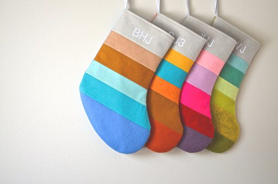 Stripey Secret Note Wool Christmas Stocking  Family by LIVbylouise, $200.00