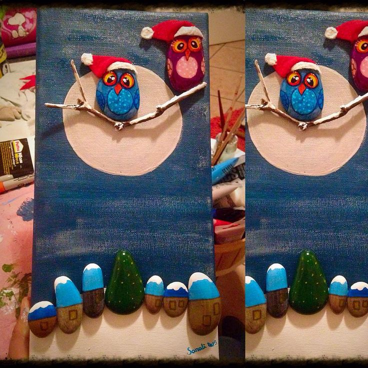 """#Noël #natale #christmas #hiboux #hibou #pierres #Stones #gallets #handmade…"