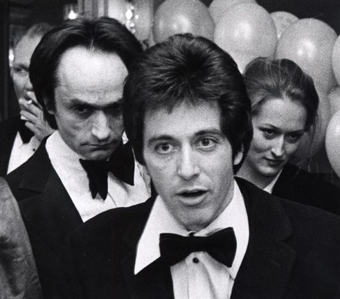 A very rare photo with Al Pacino and the late John Cazale who was her B F  died of brain tumor