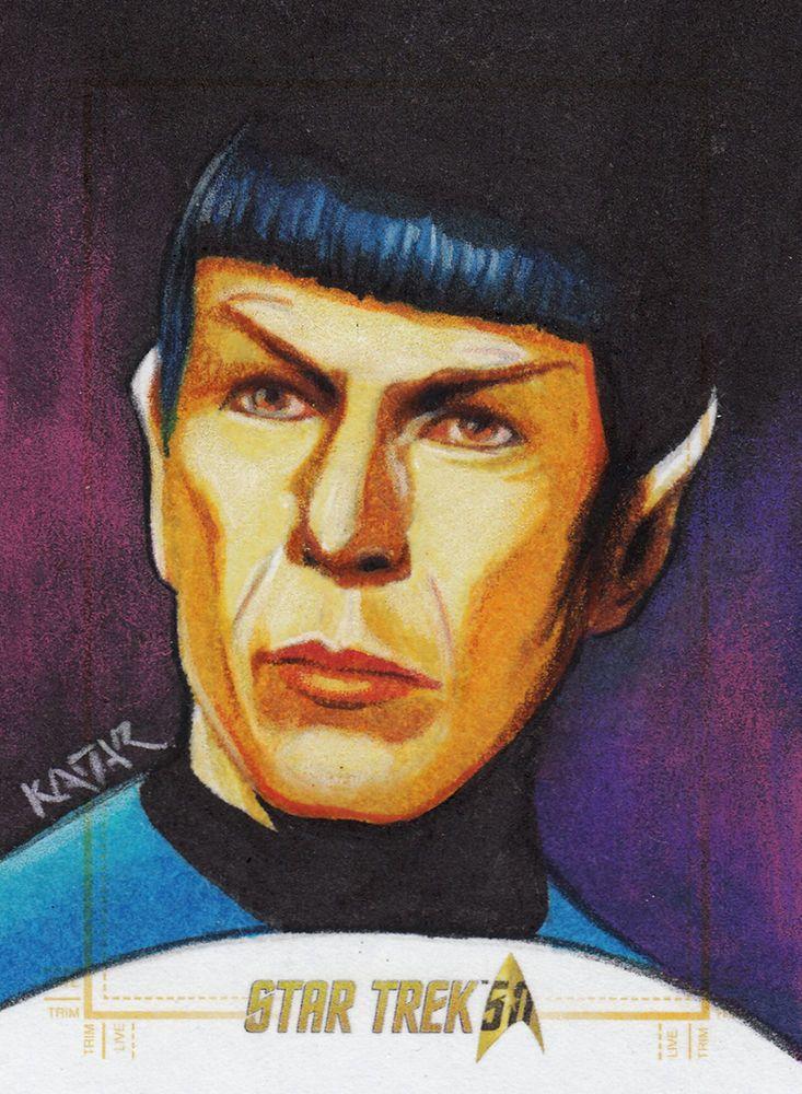 Star Trek 50th Anniversary sketch card SPOCK Artist Proof by Frank Kadar