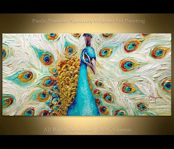 Portrait of a glorious peacock, rich textured gallery quality painting by Nizamas animal art