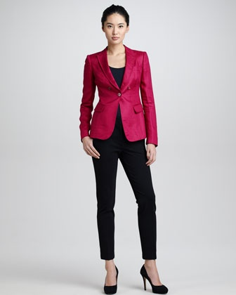 Linen One-Button Jacket, Scoop-Neck Half-Sleeve Tee & Cropped Pants by Armani Collezioni at Neiman Marcus.