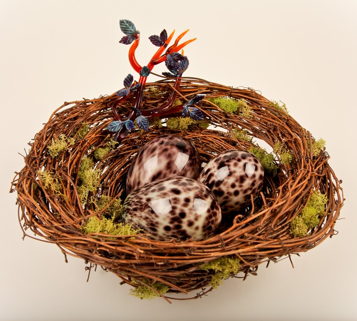 Brook Drabot - Three Eggs in Nest with Branch, Blown glass, flame-worked glass, grapevine, & moss, nest: 12 x 10 x 5 in., eggs: 3-4 in.; Valued at $650; Starting bid $300