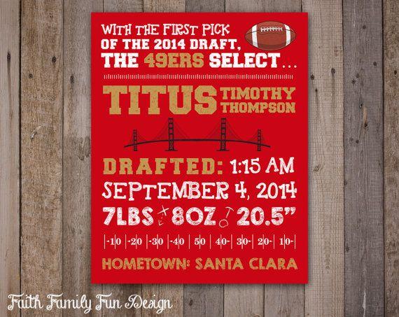 NFL 49ers Birth Announcement Wall Art. by FaithFamilyFunDesign, $6.00