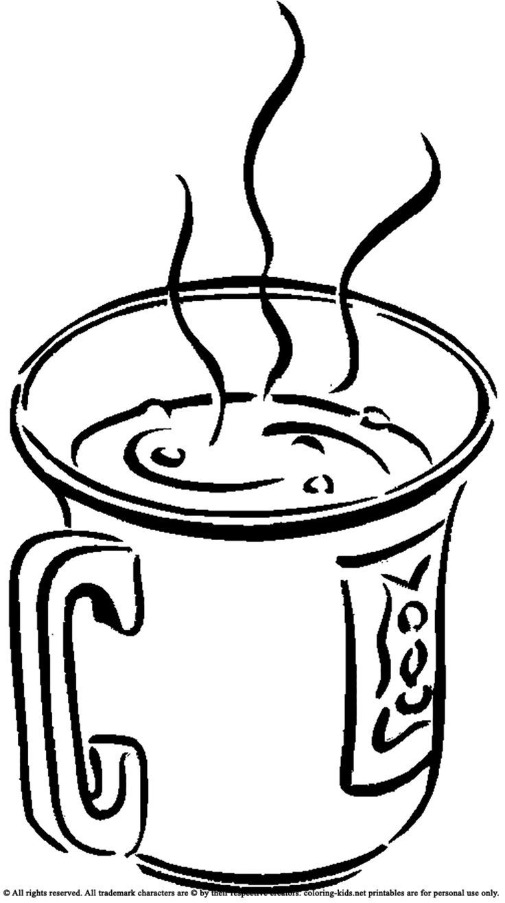 Hot Chocolate Mug Coloring Page Printable Coloring Pages