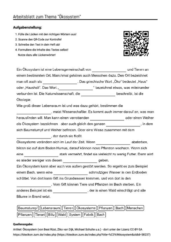 "Arbeitsblatt mit Lückentext zum Thema ""Ökosystem"""