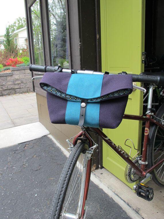 "Bike Handlebar Bag bicycle basket 10"" x 4"" x 8"" high when closed (12"" when open as a basket)"
