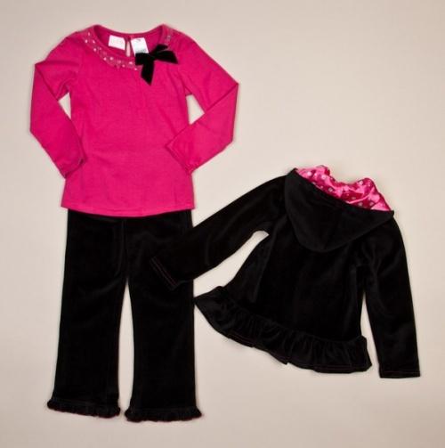 Girls Ruffle Hooded Jacket, Top and Pants