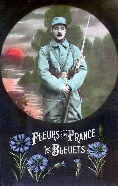 Fleurs de France, Les Bleuets, carte postale ancienne 1919-18. Le Bleuet de France est le symbole de la mémoire et de la solidarité, en France, envers les anciens combattants, les victimes de guerre, les veuves et les orphelins. La vente d'insignes du bleuet les 11 novembre et 8 mai servent à financer des œuvres sociales leur venant en aide.