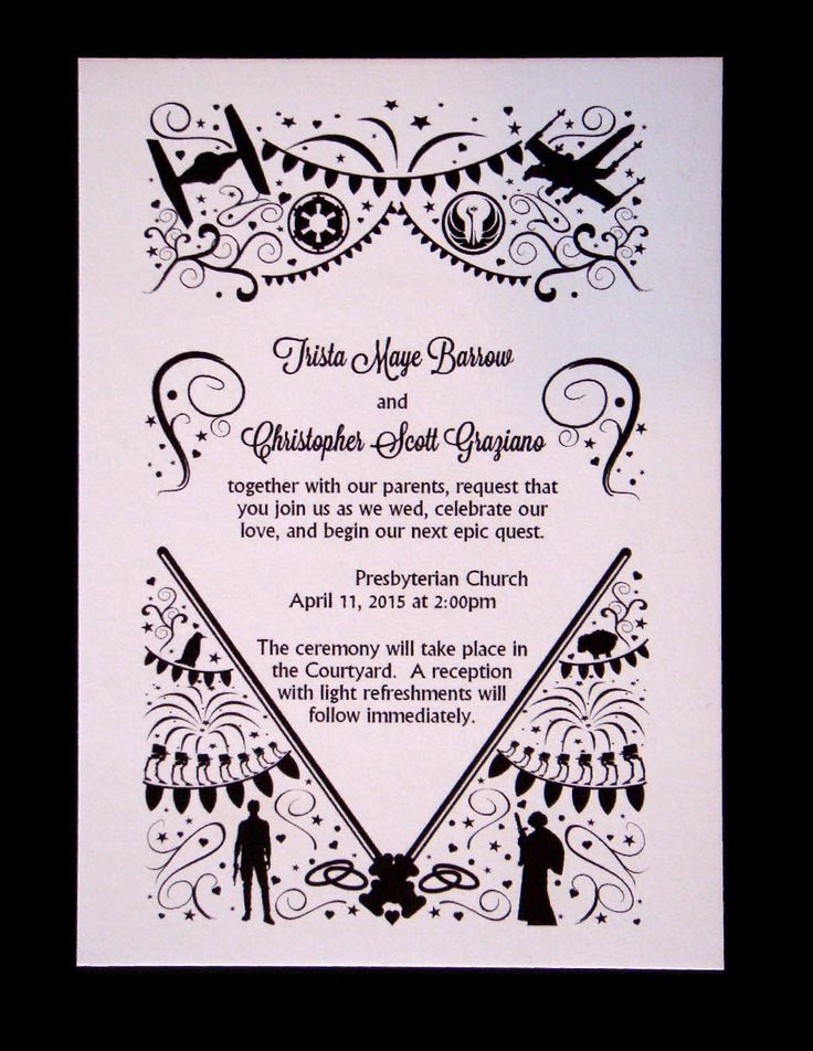 elegant star wars wedding invitations