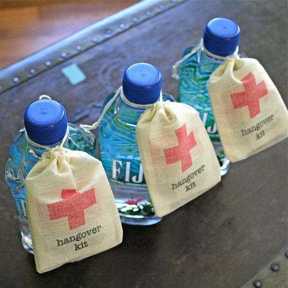 Hangover Kit, wedding favor bags, DIY first aid kit for wedding guests, funny wedding favor, bachelor party favor, bachelorette party favor