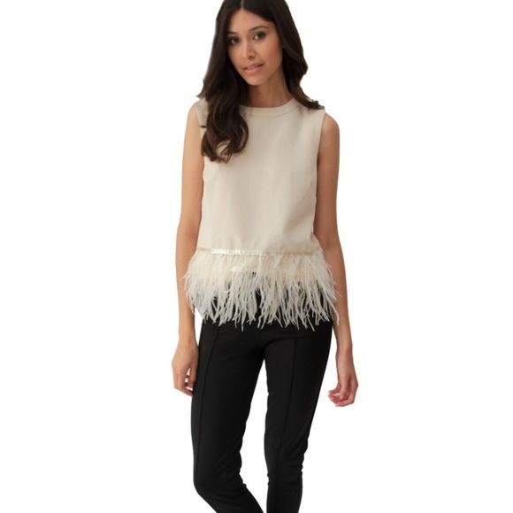 Feather Top Top with zipper closure and feather trim. Endless Rose Tops Tank Tops