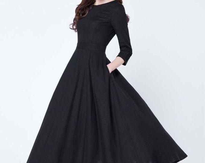 zwarte jurk, linnen jurk, maxi jurk, geplooide jurk, partij jurk, avondjurk, ronde kraag, 3/4 mouwen jurk, dames jurken 1728