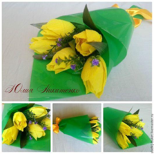 """Букеты ручной работы. Ярмарка Мастеров - ручная работа. Купить Букет из конфет  """"Желтые тюльпаны"""". Handmade. Конфетный букет"""