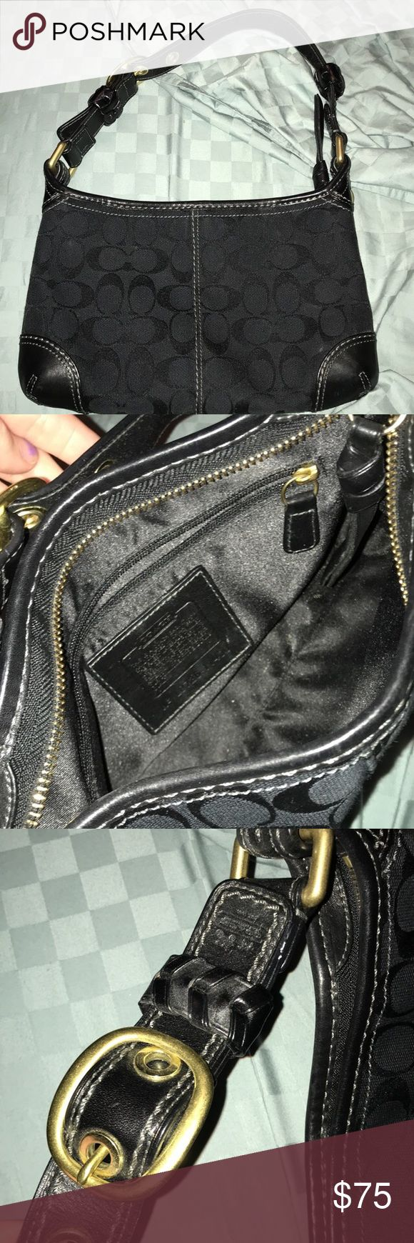 Small all black Coach purse All black coach shoulder purse with a buckle strap Coach Bags Shoulder Bags