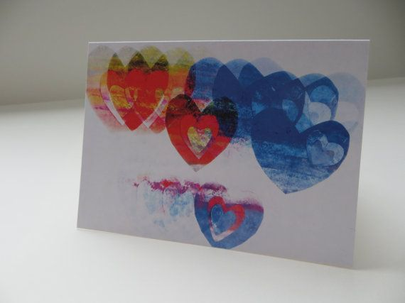 Faded Chalk Hearts  4x5.5  Art Recycled Paper by LoveRockResidue, $3.50