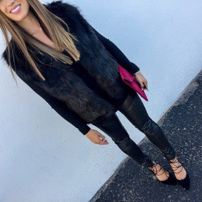 NYE ready found this faux fur vest back in stock! This sweater is on SALE (in xxs) and this clutch is marked down too! Found some similar leggings great dressed up or down & some lace up heels // Shop my daily looks by following me on the LIKEtoKNOW.it app & at adoubledose.com/instagram http://liketk.it/2u4nV #liketkit @liketoknow.it #LTKunder100 #adoubledose