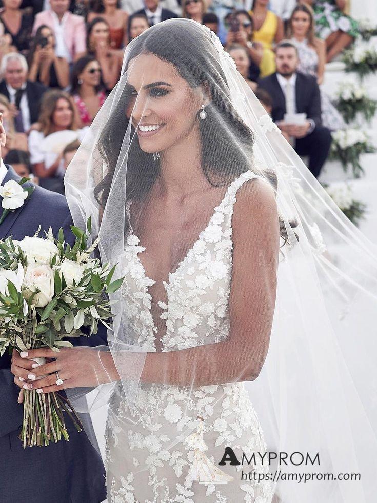 Trumpet / Mermaid Open Back 3D Lace Wedding Dresses Romantic Bohemio Wedding Dress With Straps Bridal Gowns AMY2991