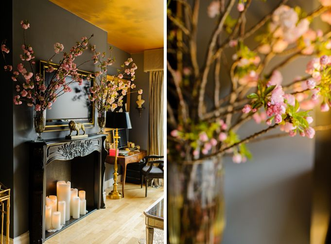 Melanie Duncan of Luxury Monograms | Rue - love the room and especially love the blossoms.
