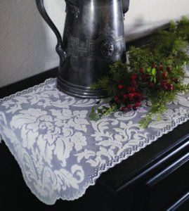 14x64 pearl heritage damask table runner $19.99