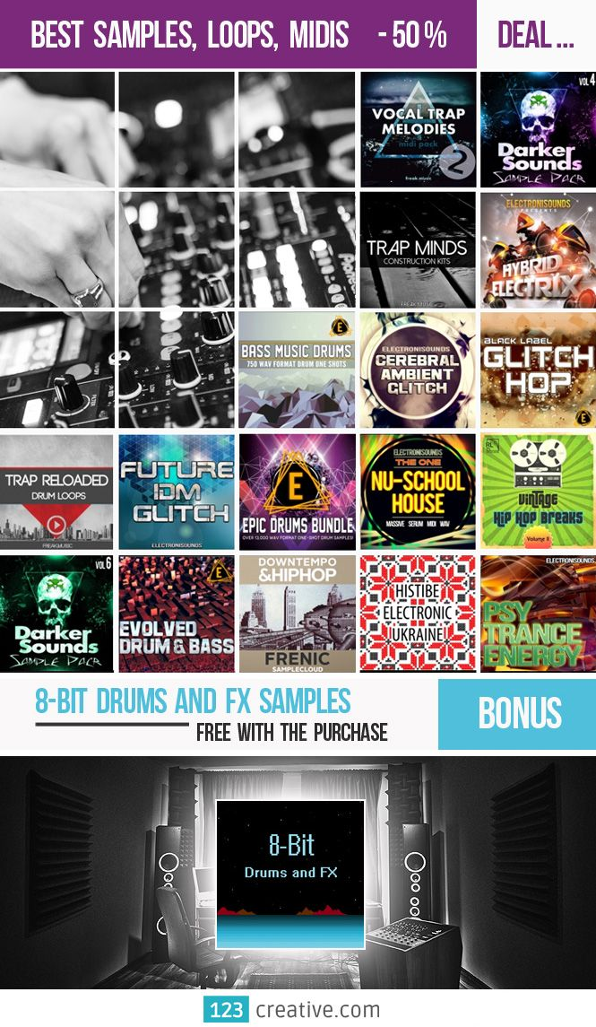► Best SAMPLES, LOOPS and MIDIS deal + BONUS Samples in addition. For each customer is still current an opportunity to get Bonus – 8-bit Drums and FX Samples. View products / Get deal at: https://www.123creative.com/12-electronic-music-production-audio-samples-and-loops