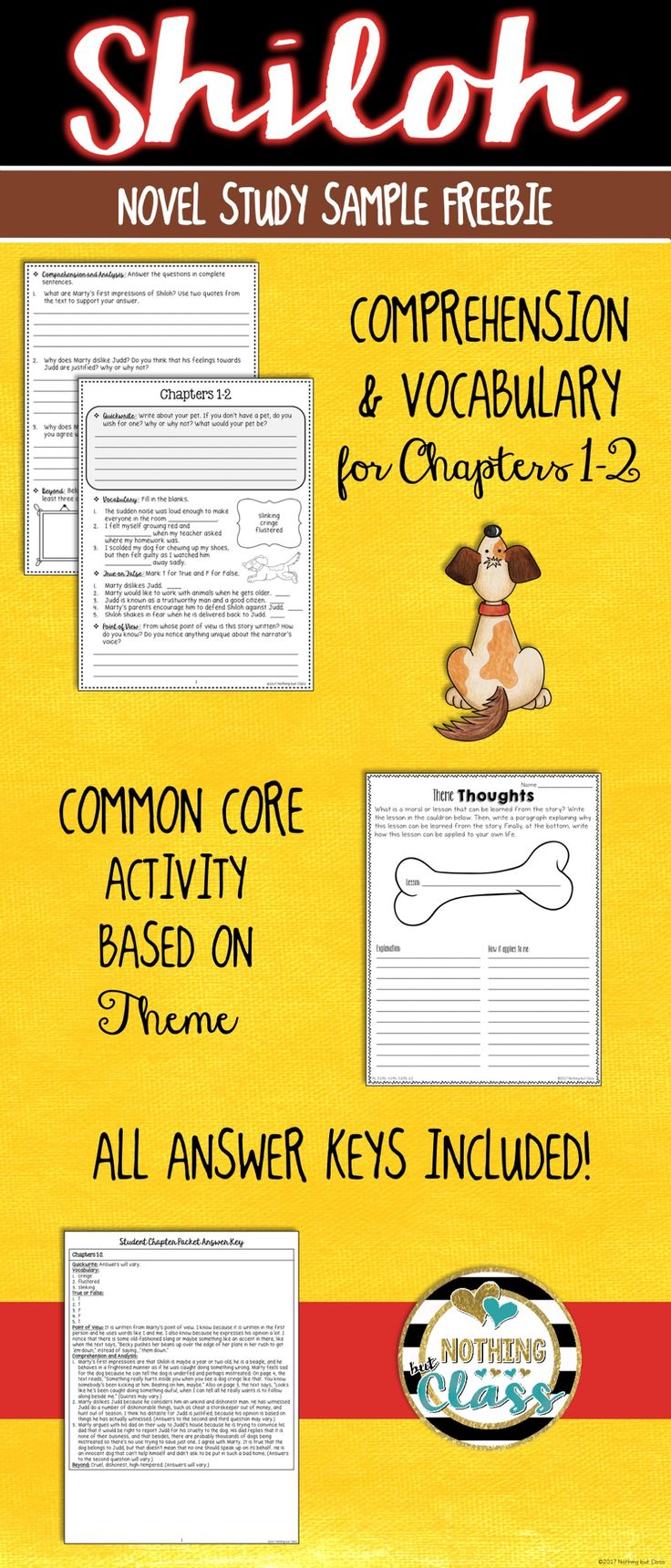 This is a 5 page FREE sample of my Common Core aligned book study for Shiloh