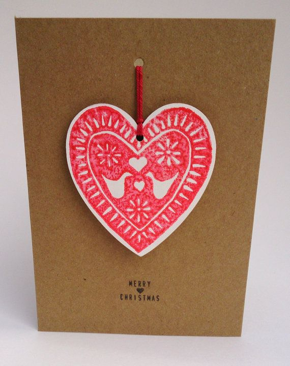 Christmas Card with Wooden Heart Decoration two by ByJoDegenhart, £3.50