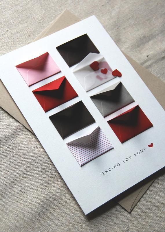 Senden Sie Liebe – Tiny Umschläge-Karte mit leeren Notizen und Konfetti