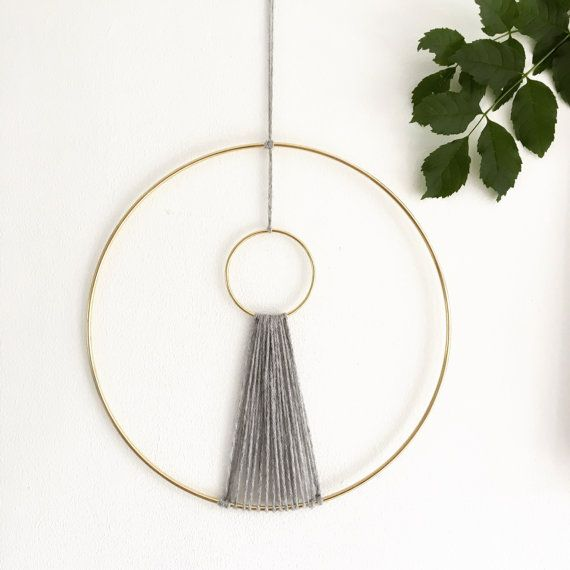 Minimalist Macrame Wall Hanging | Grey and Gold Macrame Wall Hanging | Bohemian Wall Decor | Gold Circle Macrame Ring