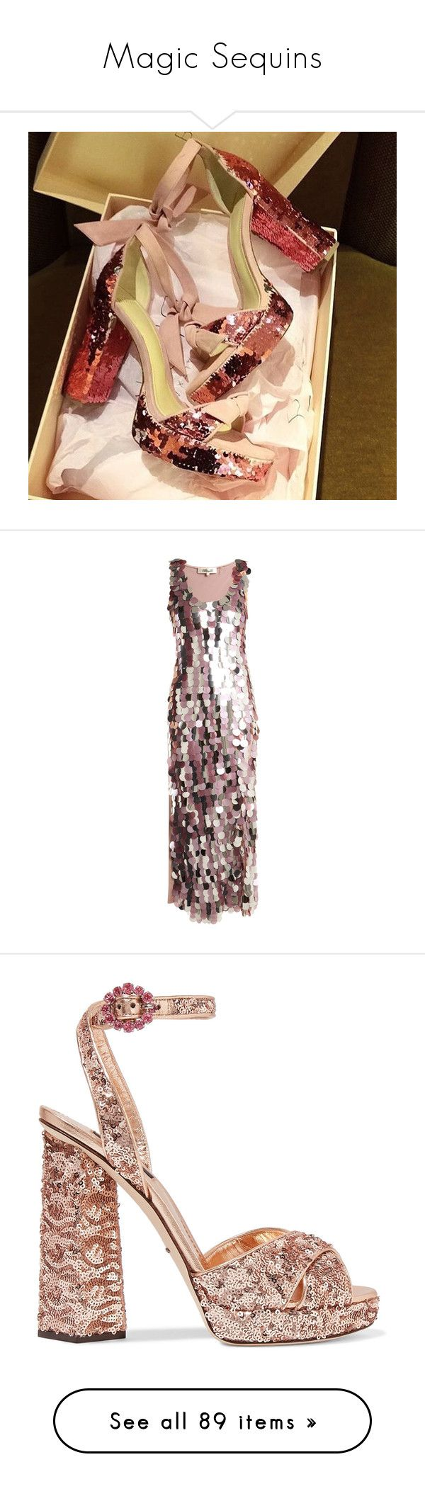 """""""Magic Sequins"""" by jacque-reid ❤ liked on Polyvore featuring home, rugs, dresses, silver, sequin embellished dress, metallic sequin dress, metallic dress, silk dress, pink metallic dress and shoes"""
