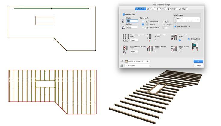 Je kunt Roofmaker inzetten voor het supersnel modelleren van een entresol of houten dakvloer. Modelleer de vloer met een Roof op 0 graden in plaats van een Slab. Selecteer het dak en kies Design > Roof Extras > Roofmaker > Roof Wizard. Zet alleen de opties voor Rafters en Trimmers aan en de rest uit.