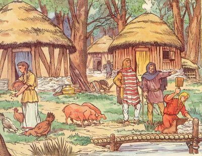La vie quotidienne dans un village Gaulois.  L'illustrateur Henri Dimpre (1907-1971)