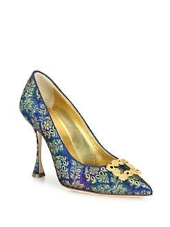 Manolo Blahnik - Tradimod Embroidered Silk Point-Toe Pumps