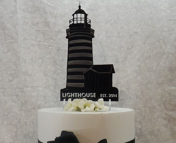 A Lighthouse Personalized Cake Topper Sign And By TheCelticLaser