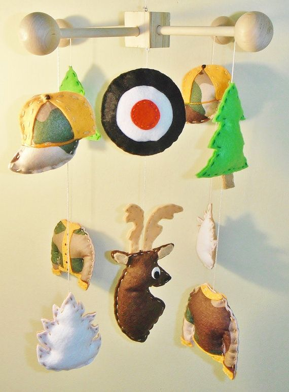 Deer Hunter Camouflage Whitetail Target Boy Newborn Decorative Baby Crib Mobile on Etsy, $99.99