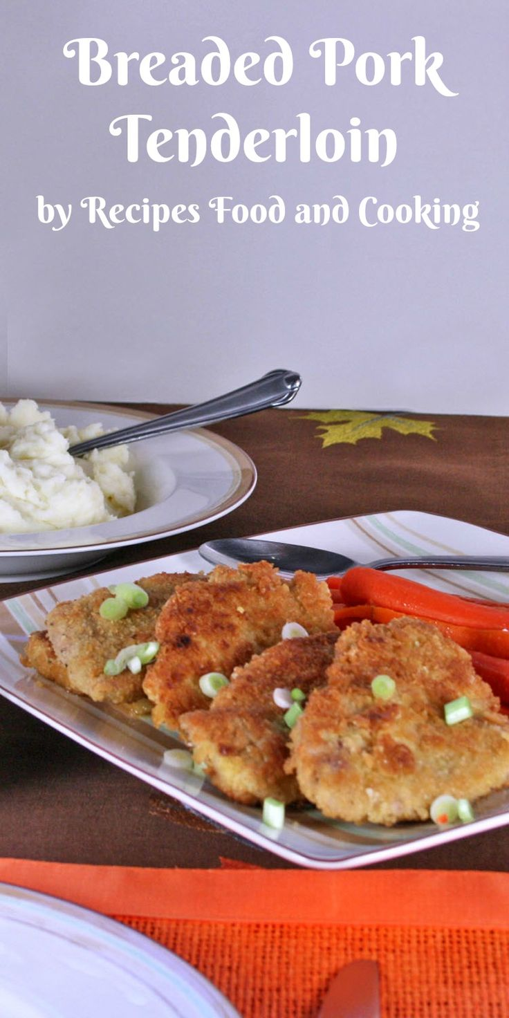 Breaded Pork Tenderloin with Peppered Southern Gravy Pork tenderloin cut into medallions and breaded. Served with peppered southern gravy on the side and honey butter carrots.