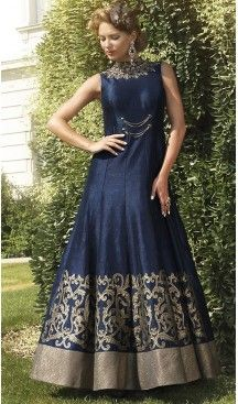 Blue Color Bhagalpuri Silk Embroidered Party Wear Readymade Gown | FH502276740 #gowns , #designer , #womens , #wedding , #evening , #party , @heenastyle , #readymade , #online , #fashion , #boutique , #silk , #dress , #indian , #shopping , #ceremony , #heenastyle , #ladies , #wear , #reception , #highfashion , #eveninggowns , #stone