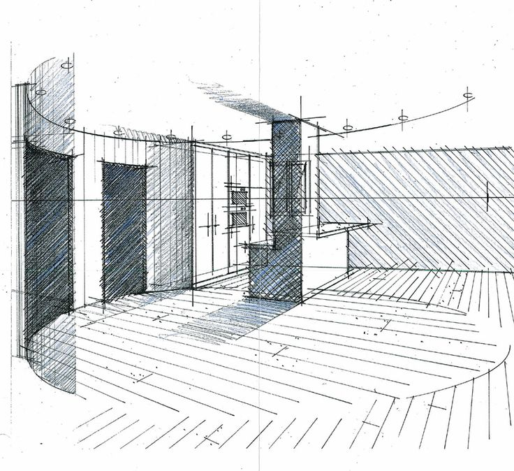croquis d 39 un hall salon cuisine philippe ponceblanc architecte d 39 int rieur. Black Bedroom Furniture Sets. Home Design Ideas