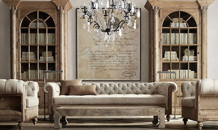 Rooms | Restoration Hardware...lots of ideas for large, oversized...prints/chandelier/clocks/objects of curiosity