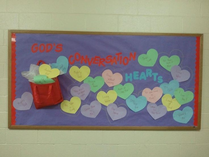 I made this God's Conversation Hearts bulletin board for a Christian school on Valentine's day. February bulletin board.