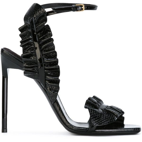 Saint Laurent Edie sandals ($1,010) ❤ liked on Polyvore featuring shoes, sandals, black, buckle sandals, black leather shoes, black leather sandals, black stilettos and stiletto sandals