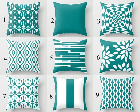 Throw Pillows Decorative Pillows Teal Pillow by HLBhomedesigns