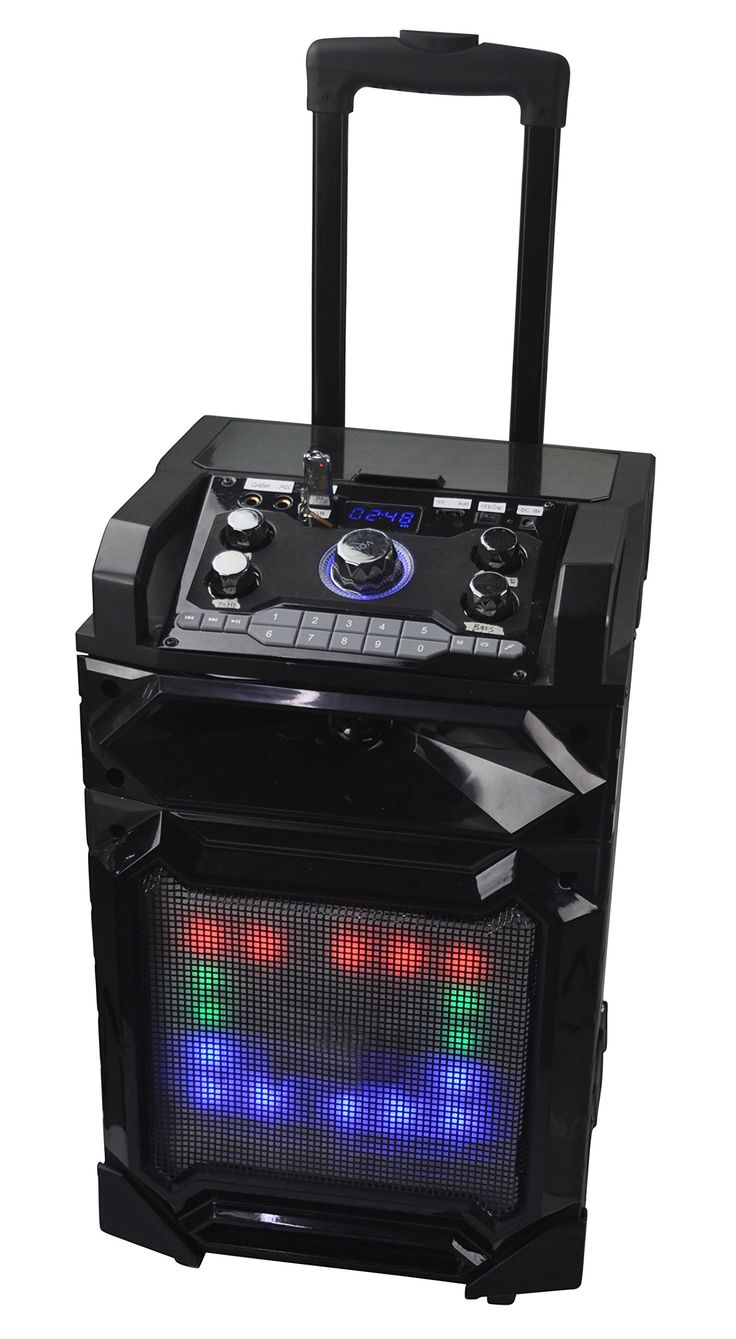 """QFX PBX-21001 10"""" Rechargeable Speaker w/Bluetooth/FM/USB/TF/AUX-In. Turn your tailgating or beach day into a party with the PBX-21001! This Bluetooth portable party speaker is perfect for any small gathering! Do you have a bluetooth capable phone? Well perfect! This speaker allows you to stream your music via Bluetooth with your mobile device. Packed with 2400W, this 10"""" speaker gives you all the sound you need! 10"""" Bluetooth Battery Powered PA Speaker LED Disco Light Bluetooth Streaming..."""