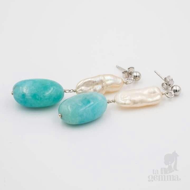 Orecchini in argento 925, perle e amazzonite