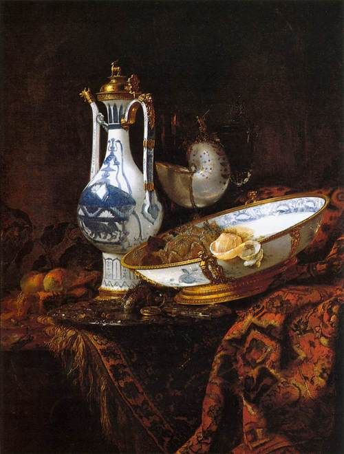 KALF, Willem (b. 1622, Rotterdam, d. 1693, Amsterdam)  Still-Life with an Aquamanile, Fruit, and a Nautilus Cup  Year c. 1660