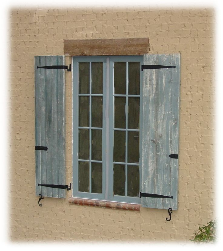 Board and batten shutter images brd btn distressed with hardware home pinterest for Hardware for exterior shutters